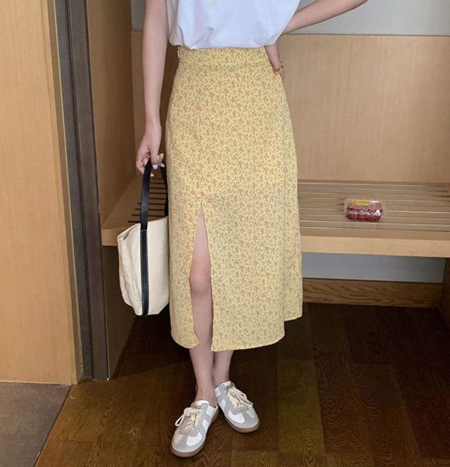 개나리 버터크림 옐로우 여름치마 여름스커트 썸머스커트 코디 여름 꽃무늬
