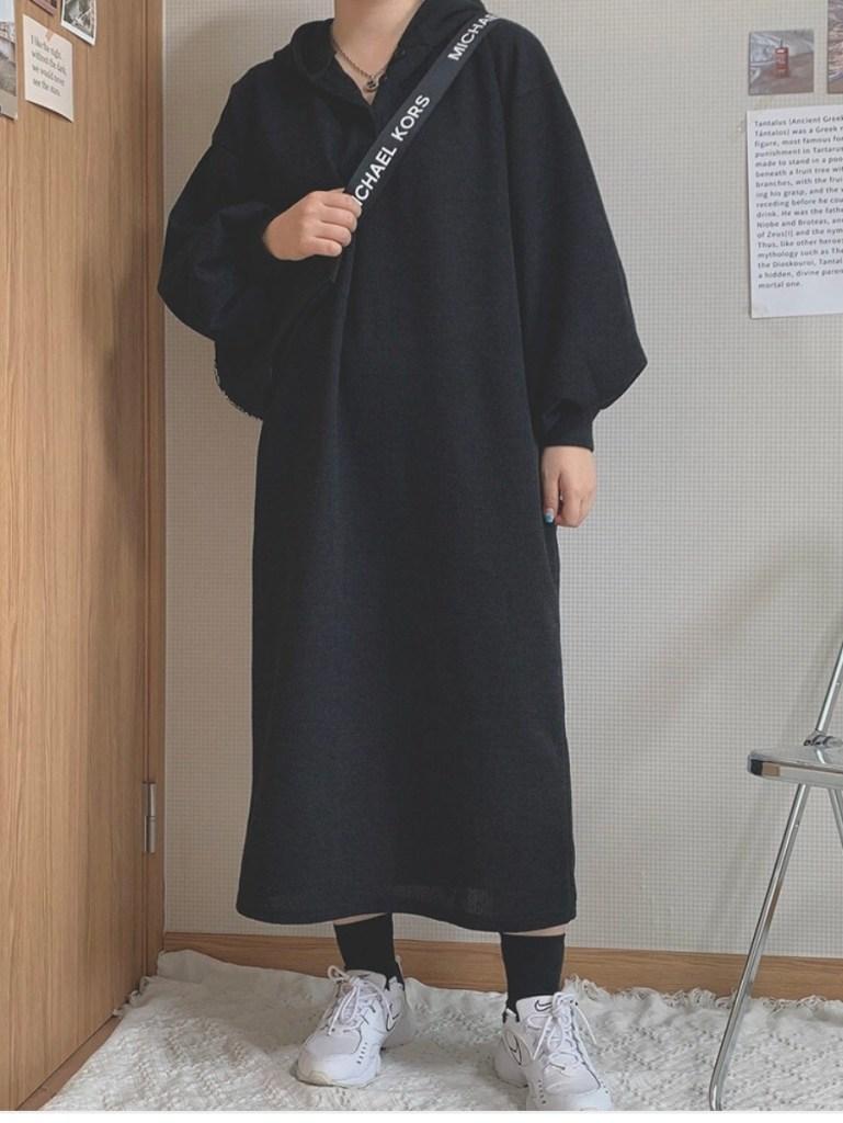 하비언니 - 블랙 후드 원피스