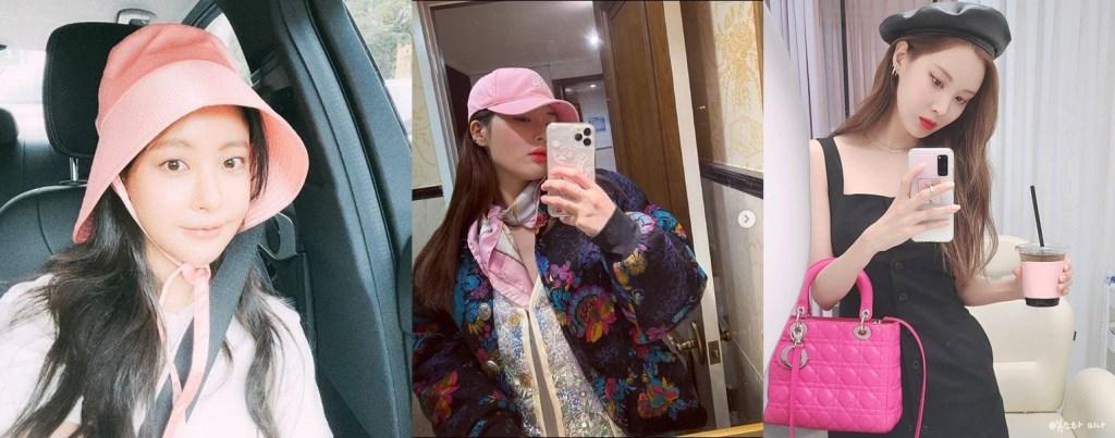 전체적인 룩이 부담스럽다면 핑크 모자나 가방으로 패션스타일링