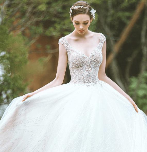A라인 튤 드레스 웨딩룩