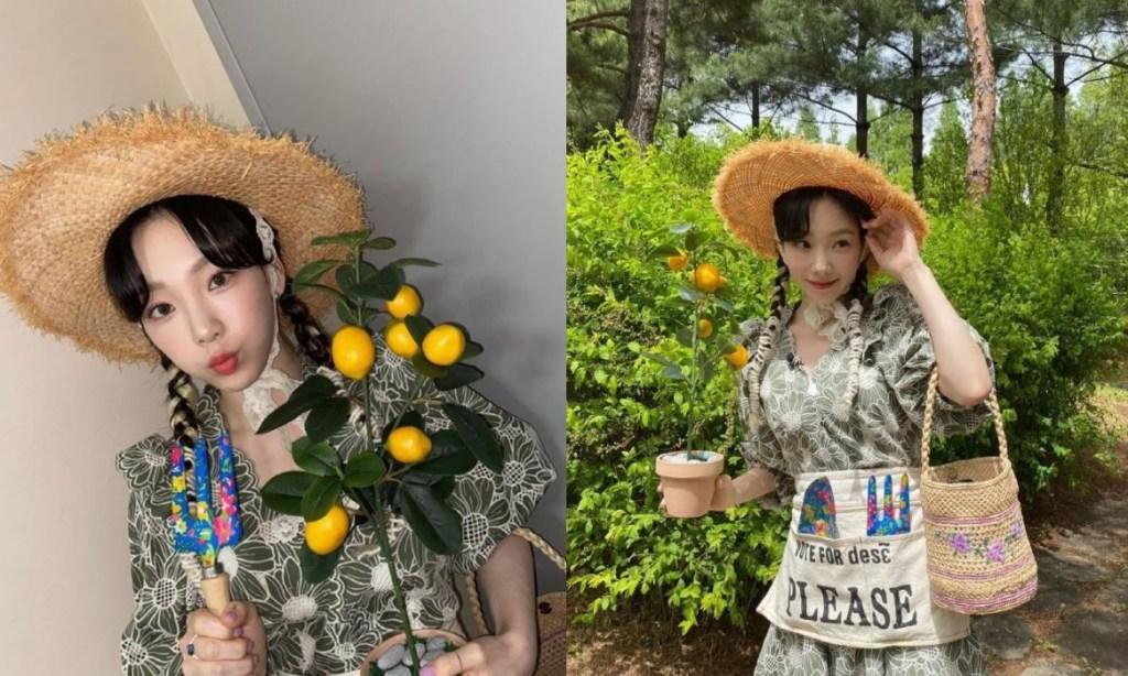 라피아햇 코디 플로럴 드레스로 걸리시하게연출한 소녀시대 태연