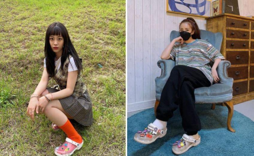 크록스 클래식 투명 클로그 허영지 산다라박 크록스 패션