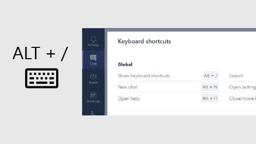 Shortcut keys in Team