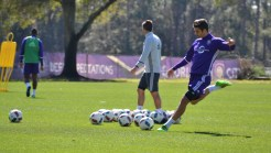 David Mateos winds up for a kick during training prior to Orlando City SC's media day on Friday, February 26, 2016. (Mike Gramajo / Orlando Soccer Journal)