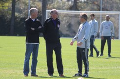 Phil Rawlins (middle) and Adrian Heath (right) speak during training prior to Orlando City SC's media day on Friday, February 26, 2016. (Mike Gramajo / Orlando Soccer Journal)
