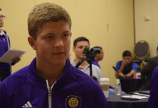 Mason Stajduhar speaks with the Orlando Soccer Journal during Orlando City SC's media day on Friday, February 26, 2016. (Victor Ng / Orlando Soccer Journal)