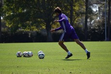 Ricardo Kaká winds up for a free kick during training prior to Orlando City SC's media day on Friday, February 26, 2016. (Victor Ng / Orlando Soccer Journal)