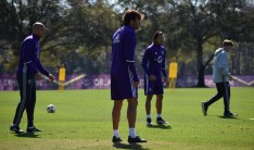 Ricardo Kaká prepares to participate in the team's keep-away drill during training prior to Orlando City SC's media day on Friday, February 26, 2016. (Victor Ng / Orlando Soccer Journal)