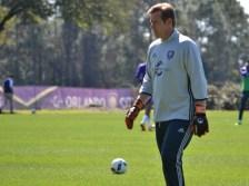 Stewart Kerr prepares for goalkeeper drills during training prior to Orlando City SC's media day on Friday, February 26, 2016. (Mike Gramajo / Orlando Soccer Journal)