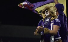 A decked-out fan cheers on the rest of the supporters section during a match between Orlando City and the Chicago Fire in the Orlando Citrus Bowl on Friday, March 11, 2016. The match ended in a 1-1 draw. (Victor Ng / Orlando Soccer Journal)