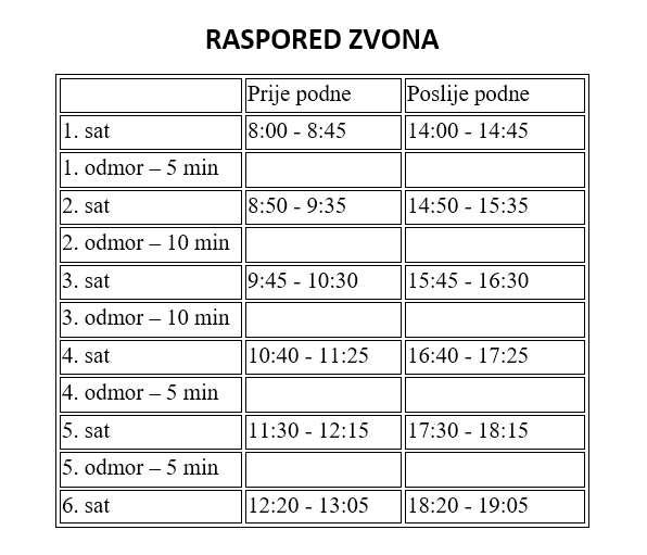 Raspored zvona za 2021./2022. školsku godinu
