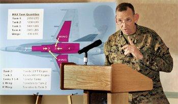 Maj. Gen. Randolph Alles, zástupce velitele letky vysvětluje příčiny nehody. (foto Eduardo Contreras / Union-Tribune)