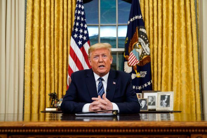 Trump giving speech in Oval Office