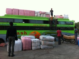 We took a bus to Udaipur, and in order to maximize profit they also use it to ship goods!