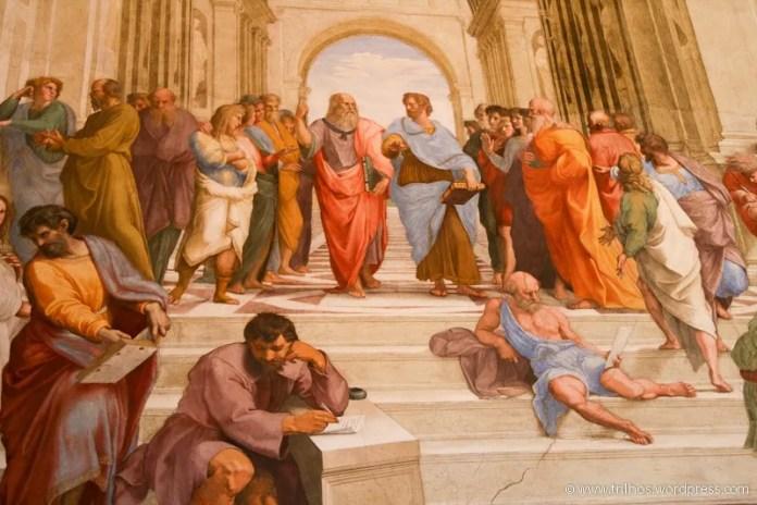 "A escola de Atenas, na ""stanza della segnatura"" de Rafael"