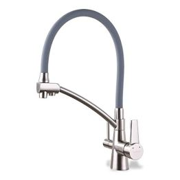 GAPPO Wasserhahn für Küche Küchenarmatur mit Brause 3 Wege Wasserhahn Wasserfilter gebürstet Nickel 360 Schwenkbereich, Grau, MEHRWEG - 1