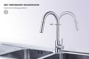 M MEHOOM Wasserhahn Küche, 2 Wege Küchenarmatur, 360° Ausziehbar Drehbar Küche Spültischarmaturen Mischbatterie, Kalter und Heißer Edelstahl Wasserhahn für Küche, Einhebelmischer für Bidet - 3