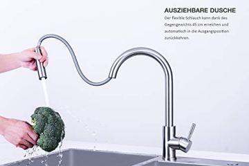 M MEHOOM Wasserhahn Küche, 2 Wege Küchenarmatur, 360° Ausziehbar Drehbar Küche Spültischarmaturen Mischbatterie, Kalter und Heißer Edelstahl Wasserhahn für Küche, Einhebelmischer für Bidet - 5