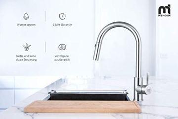 M MEHOOM Wasserhahn Küche, 2 Wege Küchenarmatur, 360° Ausziehbar Drehbar Küche Spültischarmaturen Mischbatterie, Kalter und Heißer Edelstahl Wasserhahn für Küche, Einhebelmischer für Bidet - 6