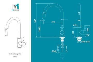M MEHOOM Wasserhahn Küche, 2 Wege Küchenarmatur, 360° Ausziehbar Drehbar Küche Spültischarmaturen Mischbatterie, Kalter und Heißer Edelstahl Wasserhahn für Küche, Einhebelmischer für Bidet - 7