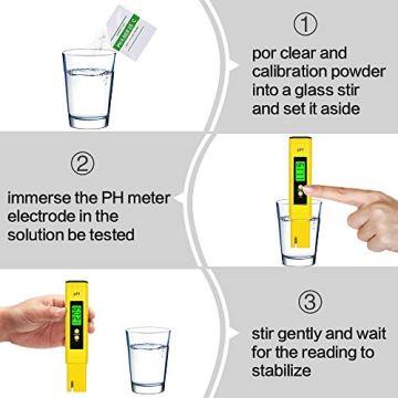 PH Messgerät , omitium PH Messgerät Wasser mit LCD Anzeige PH Wert Messgerät Digitaler PH-Meter für Trinkwasser, Lebensmittel, Schwimmbäder, Thermen, Aquarien, Hydroponik und andere  - 5
