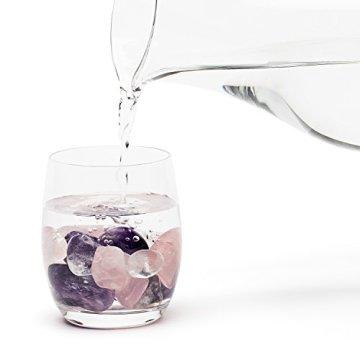 Premium Edelsteinwasser Basis-Mischung | Edelstein Grundmischung: Rosenquarz, Amethyst, Bergkristall | Wassersteine / Heilsteine getrommelt - 3