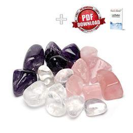 Premium Edelsteinwasser Basis-Mischung | Edelstein Grundmischung: Rosenquarz, Amethyst, Bergkristall | Wassersteine / Heilsteine getrommelt - 1