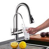 Onyzpily Gebürstetes Nickel Reines Wasser Küchenarmatur mit ausziehbar Doppelgriff Heißes und kaltes Trinkwasser 3-Wege-Filter Küchenmischbatterien - 1