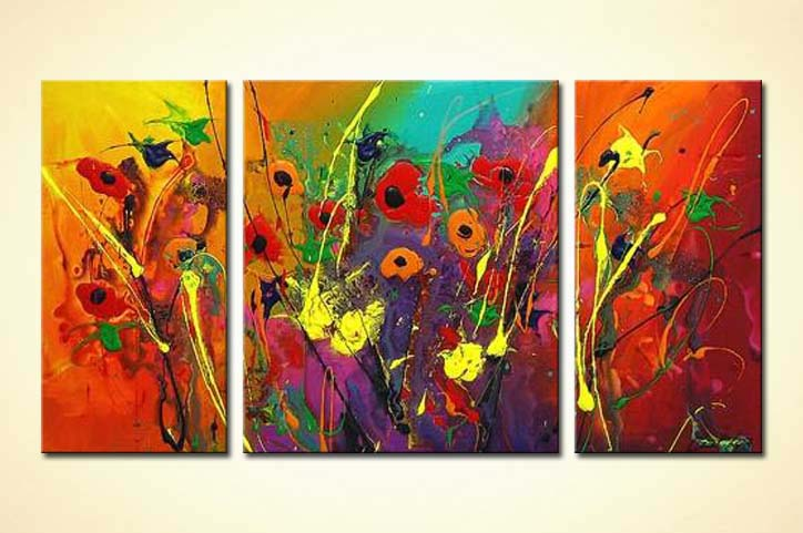 Painting For Sale Triptych Colourful Floral Art 3198