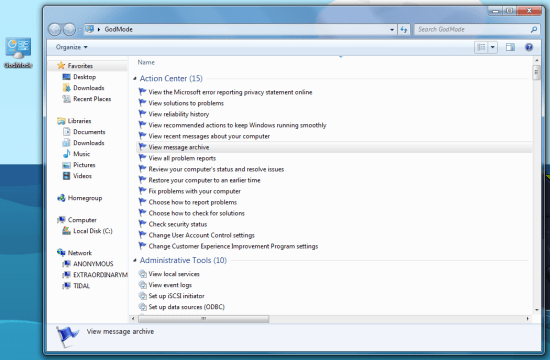 Gode mode in Windows 7.