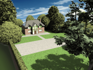 3D house front view
