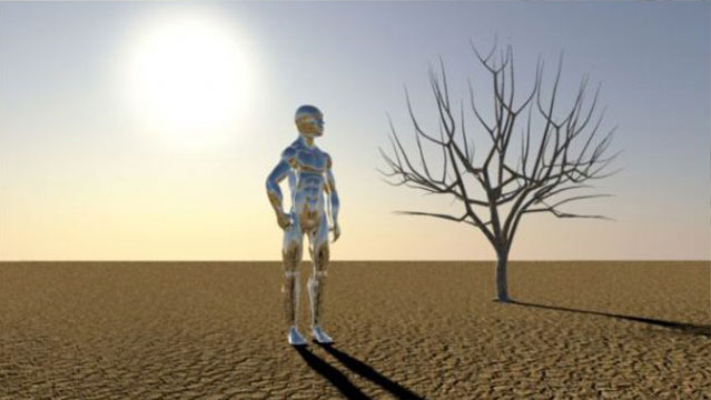 3D Animation Silver Man stands