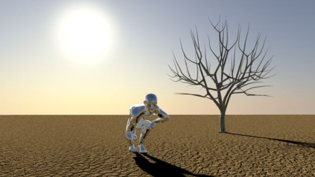 3D Animation Silver Man rising
