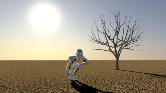 3D Animation Silver Man rising