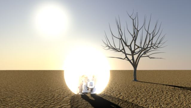 3D Animation Silver Man emerging 1