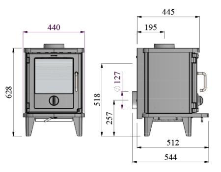 Morso 3116 wood burning stove dimensions