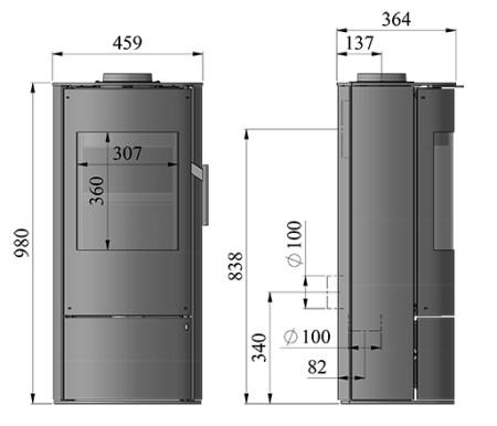 dimensions of morso 4043 wood burning stove