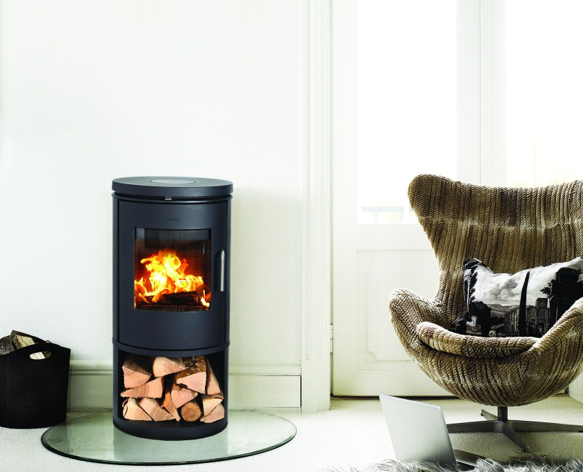 morso 6143 woodburning stove in modern interior