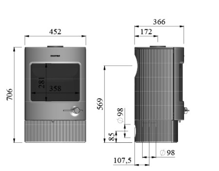 Dimensions of Morso 2840 wood burning stove