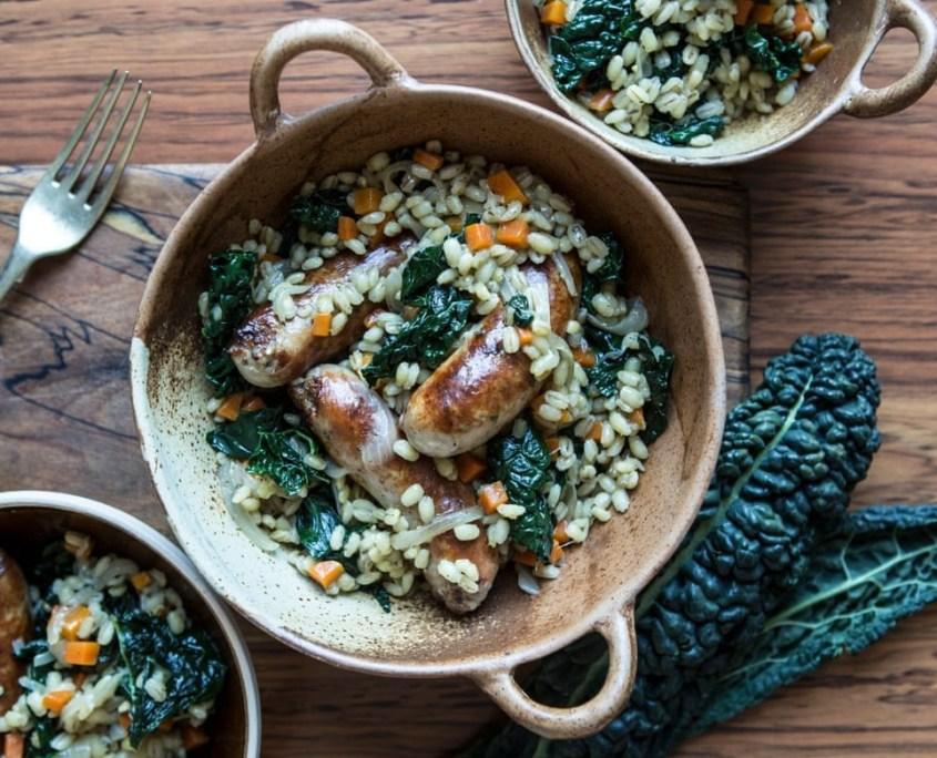Sausage kale and barley stew
