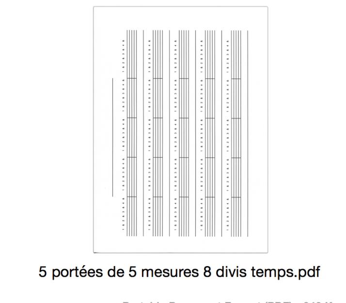5 portées de 5 mesures 8 divis temps