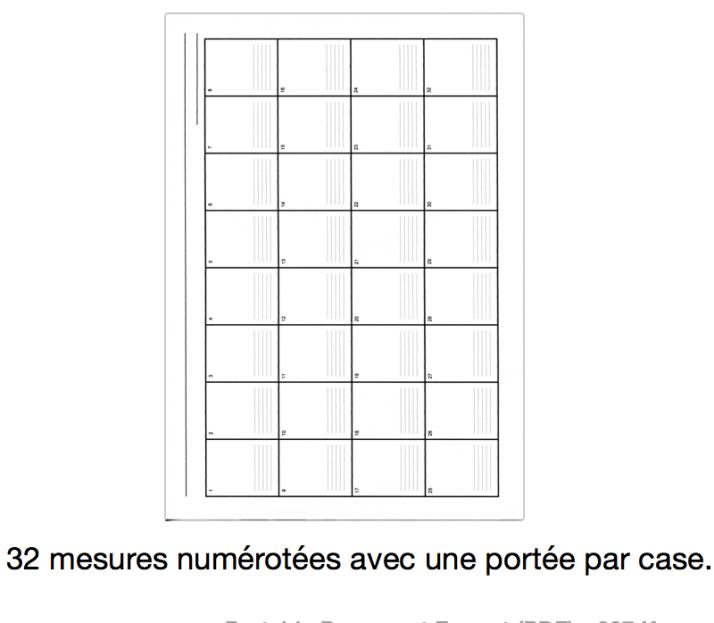 grille 32 mesures numérotées avec une portée par case