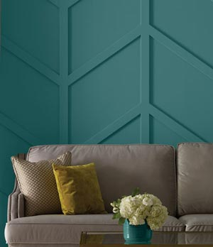 Dimensional wall feature painted with Beauti-Tone paint at Osoyoos Home Building Centre.