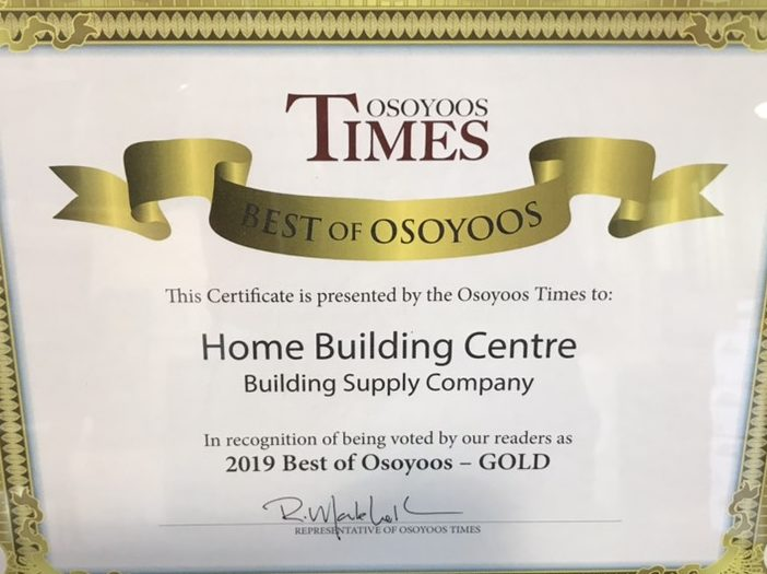 Best of Osoyoos, Best Building Supply Company award.