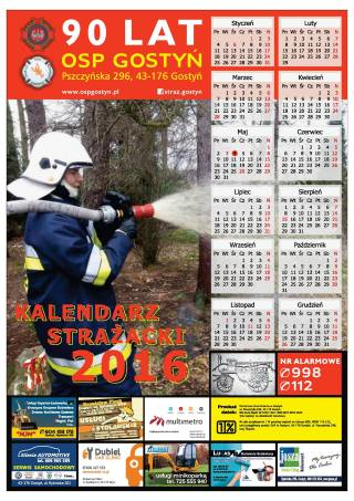 Projekt kalendarza strażackiego OSP Gostyń na rok 2016