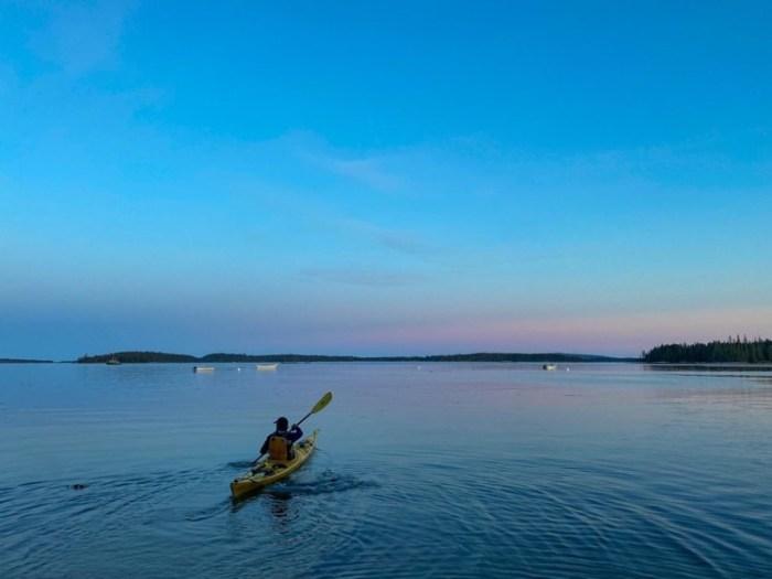 sunset kayaking tour in webb cove, deer isle, maine