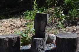 A seat for the teacher in the outdoor classroom
