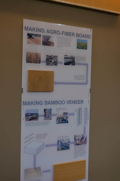Informational posters with materials show students the process and importance of the green modifications on campus