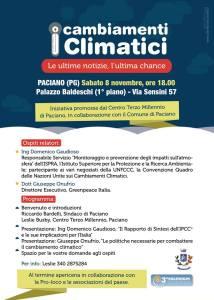 Paciano, 8 Novembre, ore 18, I cambiamenti climatici