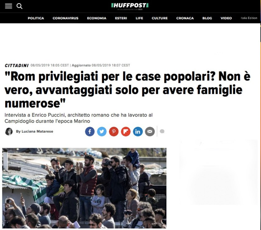 """""""Rom privilegiati per le case popolari? Non è vero, avvantaggiati solo per avere famiglie numerose"""" di Luciana Matarese"""